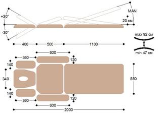 Массажная кушетка медицинская с электроприводом EH7